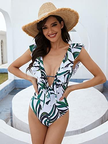 UMIPUBO Trajes de Baño Una Pieza Bañador Alta Cintura Push Up Trajes de Brasileño Conjunto de Bikini para Mujer Volante Cuello en V Fruncido Bikini Sets Bikini Natacion