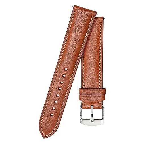 Correa de reloj de cuero 18 mm 20 mm 22 mm Correa de reloj BandaHombres Mujeres Pulsera de repuesto Cinturón-Marrón-Beige_Line_20mm