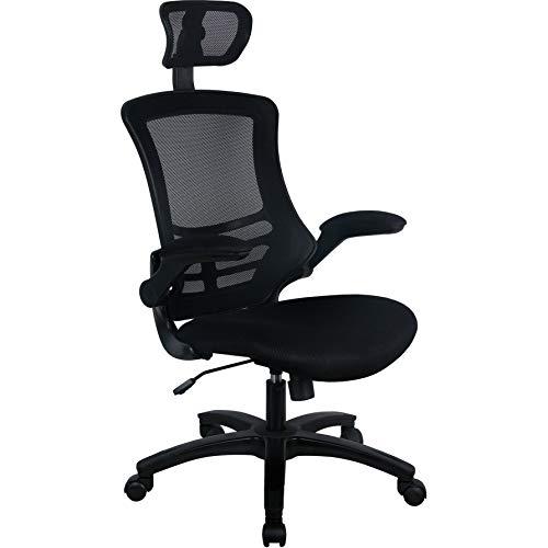 Office Furniture Online Bürostuhl mit schwarzer Netz-Rückenlehne und Kopfstütze | Sprint