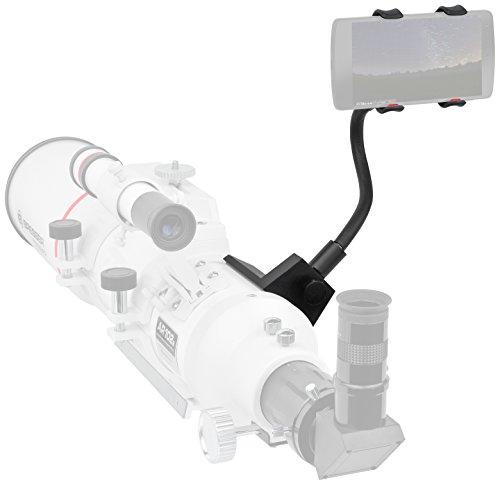 Bresser Smartphone houder voor verrekijkers/telescoop met statisch adapter en flexibele zwanenhals voor eenvoudige uitlijning en montage van de smartphone, zwart