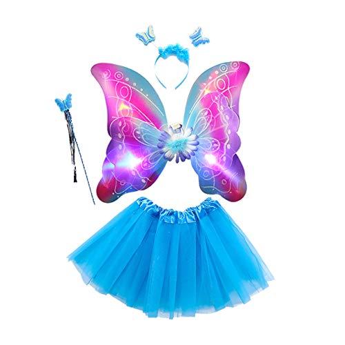 THEE Costume da Elfa o Principessina in 4 Pezzi a Forma di Ali di Farfalla con Luci LED e Bacchetta Magica Costume per Bambine in Occasione di Feste Carnevale Halloween (Z-Blu)