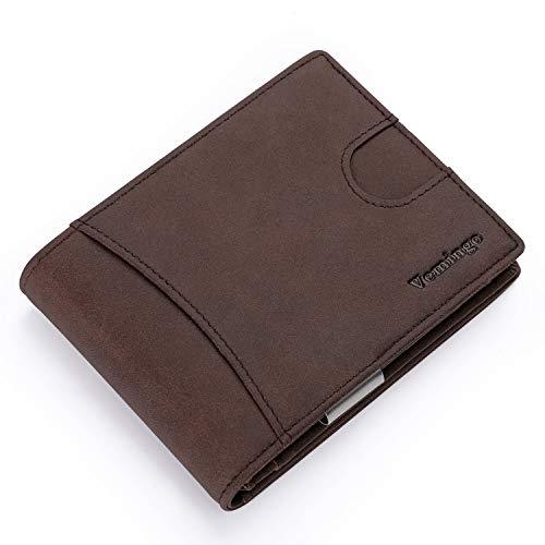 Vemingo Billetero de Hombre con Bolsillo de Moneda/Cartera Piel Hombre con Clip y RFID Bloqueo para Varias Tarjetas personales(Marrón)