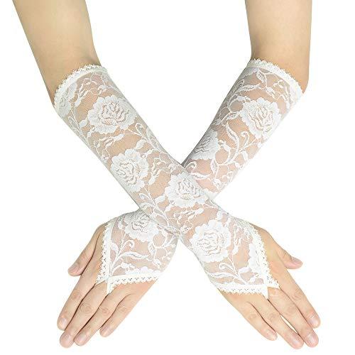 Coucoland Damen Handschuhe Satin Classic Opera Fest Party Audrey Hepburn Handschuhe 1920s Handschuhe Damen Lang Kurz Elastisch (Fingerlos Spitze Lang/Weiß)