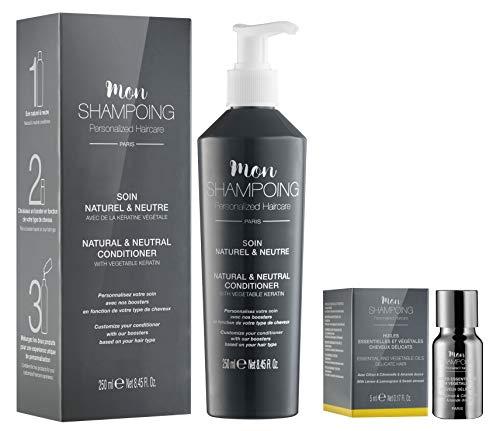 Mon Shampoing - Duo Après Shampoing Naturel - Cheveux Délicats - Sans Paraben/Sans Silicone - Huiles Essentielles & Végétales Citron, Citronnelle, Amande - convient pour Lissage/Extension. 250ml + 5ml
