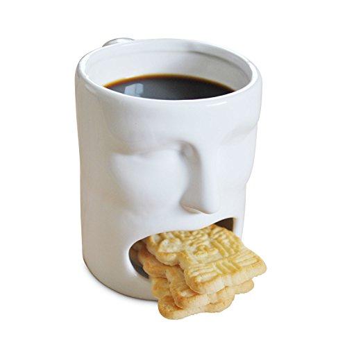 Tasse Keksfach Die originelle Kaffee-Tasse Face Mug im Gesichter-Design mit Keks-Fach