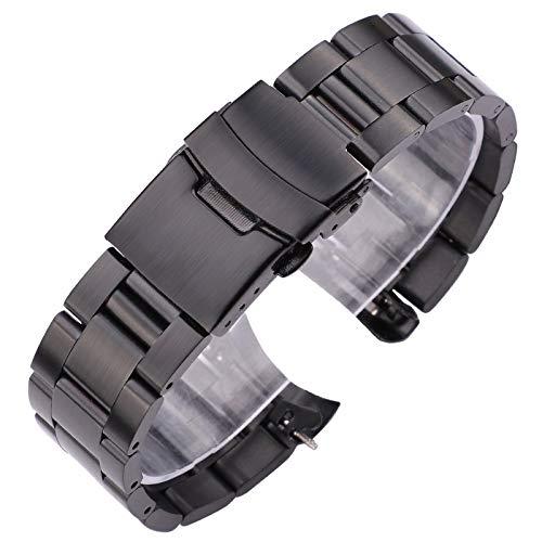 DFKai1run Correa de Acero Inoxidable, Pulsera de Reloj de Acero Inoxidable de 20 mm de 22 mm Pulsera de Plata Negra Curved Reloj de Relojes Mujeres Hombres Metal Reloj Correa Deportes de Moda