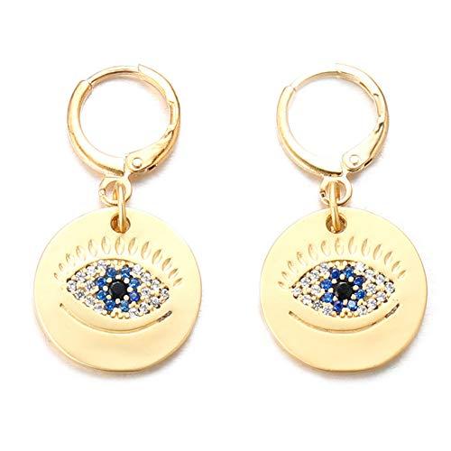 Halukakah Pendientes Mal de Ojo Mujeres Hombres Chapado en Oro Amarillo de 24k Diamantes Pendiente de Botón Redondo con Forma de Moneda Ojo Azul Protección Joyas Mal de Ojo con Caja