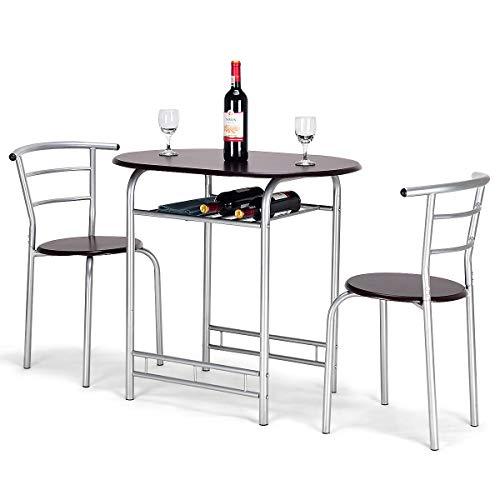 Giantex - Set di Mobili con 1 Tavolo da Pranzo con 2 Sedie, 3 Pezzi di Mobili in Legno e Metallo, Ideali per Soggiorno, Cucina, Ristorante e Bar (Marrone)