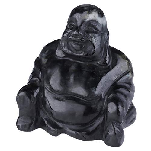 mookaitedecor Healing Crystal Buddha Statue Carved Figurine Stone Feng Shui Home Decor 1.5-1.8 Inches, Black Zebra Jasper