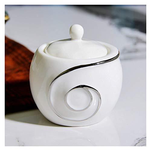 Xiaokeai Azúcar con Tapa Simple Simple Plateado Plateado Cerámica Conjuntos de cerámica Tazón Salero Coffe Cofe Cube Sugar Bowl La Mejor opción para Regalos de Amigos
