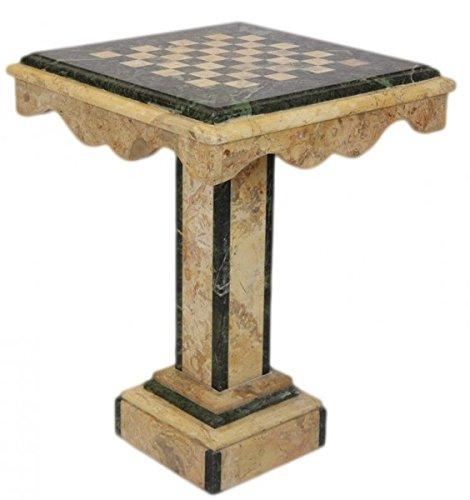 Casa Padrino Barock Spieltisch Schach/Dame Tisch Marmor Creme - Grün - Möbel Antik Stil Art Deco Jugendstil Schachtisch