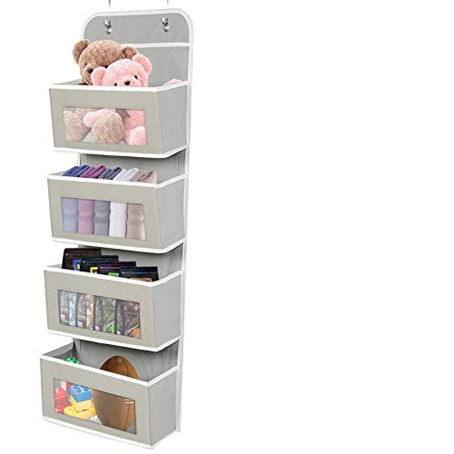 Hanging Organizer, Over The Door Organizer with 4 Clear Window Pocket, Wall Mount Hanging Storage Organizer, for Kitchen, Bathroom, Play Room, Closet