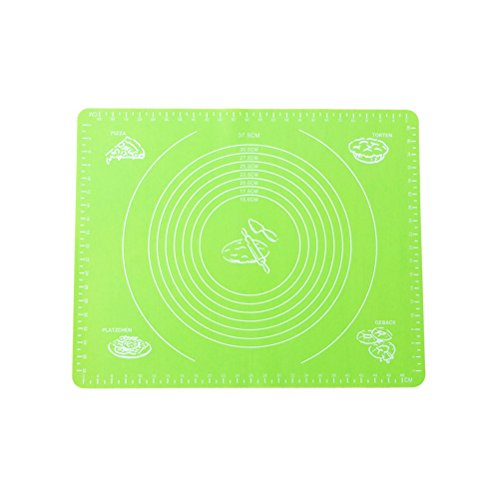 bestomz alfombrilla de silicona para repostería para horno alfombrilla de Rolling Extra grande grueso con las mediciones antideslizantes antiadherente Fondant masa Rolling Mat (verde)