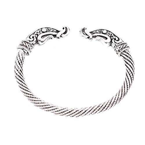 YNuth Viking Armband Armreif Kopf Gegen Silber Nordisch Schmuck Damen Herren Retro