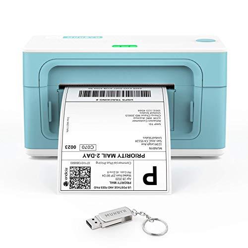 Etikettendrucker MUNBYN Etikettenmaschiene Direkter Thermischer Versandetikettendrucker für DHL UPS FedEx Amazon - 4XL Etikettendrucker - USB Thermischer drucker für PC/Mac Grün