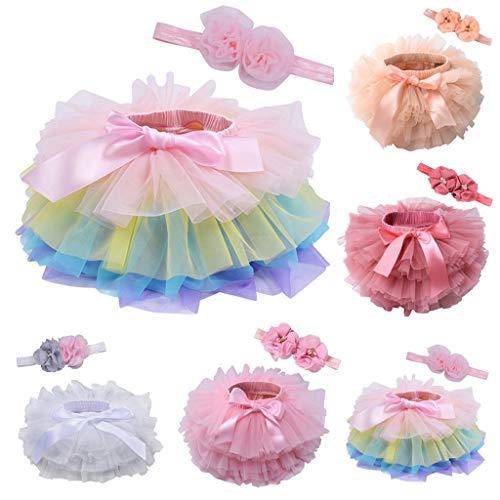 Onemopie Layered Toddler Skirts for Dance,Child Baby Girl's Summer Mesh Bowknot Hair Band Princess Skirt,Soft and Elastic Waist Tutus for Girls 0-3 T