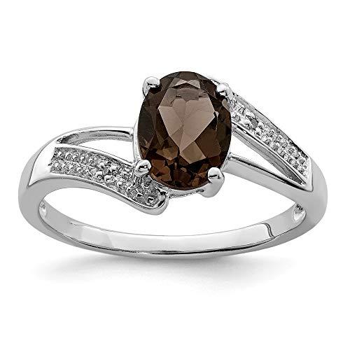 Plata de Ley rodio Smokey cuarzo y anillo de diamantes en bruto - Talla L 1/2 - JewelryWeb