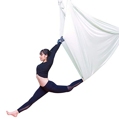 WCX Columpio Swing Hamaca De Yoga Aérea Silk Yoga Swing para Yoga Antigravedad Hamaca para Aeroyoga Columpio Resistente De Nylon Color Azul (Color : White, Size : 400x280cm/157x110in)