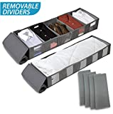 Stockyfy Foldable Under Bed Storage Bags Container with Adjustable Dividers [2Pack] Breathable with Clear Window for Clothes, Shoes,Toys,Blanket Organizers, Comforter Light Grey