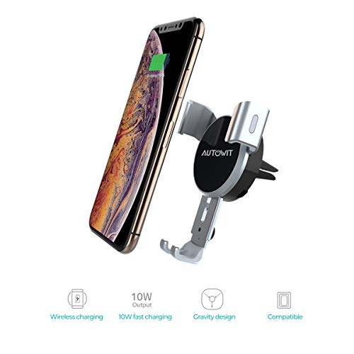 Autowit Wireless Air Vent Gravity Car Charger Universal Phone Holder Fast Charging Mount 10W/7.5W for iPhone X/8/8Plus Samsung Note5, Note 8, Galaxy S6 Edge+, Qi Enabled Devices, Silver