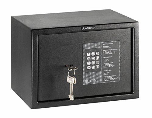 Arregui 31010 Caja fuerte de sobreponer electrónica con llave. 350x250x250 mm, Negro texturado, 350 x 250 x 250 mm