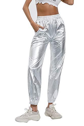 Pantalones Joggers Brillantes Cintura Elástica Casual para Mujer