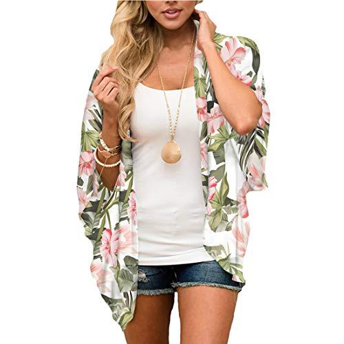 JORYEE Damen Florale Kimono Cardigan - Tops Cardigan Chiffon Shawl Bluse Sommer Boho Strand Cover up Leichte Jacke Oberteil (Blumen-Gruen, L)