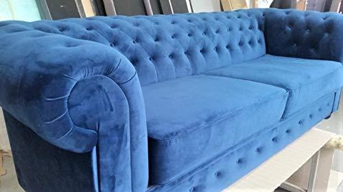 MG Home Sofa Chesterfieldsofa Doppelt Magie Samt Mit Schlaffunktion Oder Ohne Schlaffunktion (Blauer Samt, Chesterfield-Sofa III 218 cm mit Schlaffunktion)