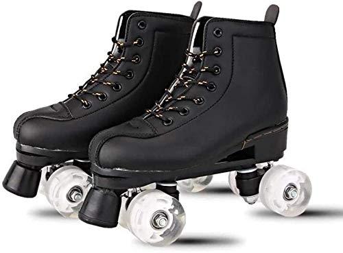 Roller Skates für Frauen im Freien, zweireihig 4 Gummiräder Skates Adjustable Classic Leder Rollschuh für Erwachsene Größe,Black no Flash Wheel,41