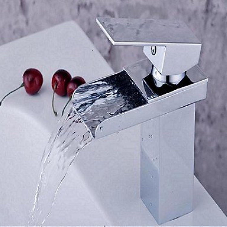 XINXI HOME Basin Tap Chrome Finish Single Hole Brass Waterfall Bathroom Sink Faucet Bathroom Faucet Basin Mixer Tap