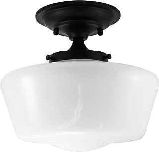 URBAN 33 F21616-50R Semi-Flush Opal Glass Schoolhouse Fixture, Black