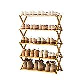 YYCX Scarpiera pieghevole in legno di bambù scarpiera senza installazione scarpiera verticale scarpiera scarpiera portaoggetti per piante espositore multistrato (5° piano)