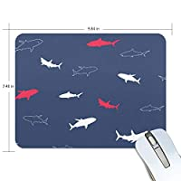 マウスパッド かわいい 紺色 海洋動物 サメ 魚柄 背景 高級 ノート パソコン マウス パッド 柔らかい ゲーミング よく 滑る 便利 静音 携帯 手首 楽