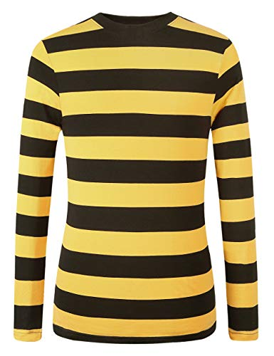 SSLR Men's Cotton Crew Neck Casual Long Sleeves Stripe T-Shirt (XX-Large, Yellow Black)