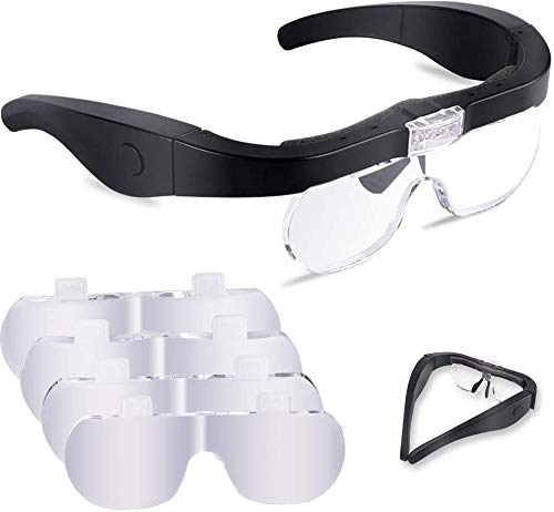 Lupenbrille mit Licht FTUNG Kopfband Lupe Lampe Headset Kopflupe Stirnlupe abnehmbare Linsen Brillenlupe mit 2 LED Licht (1,5-5x)