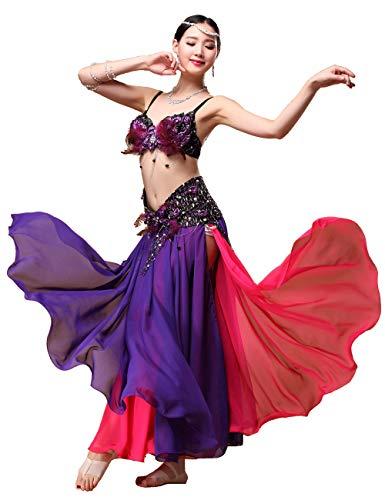 Grouptap Gonna Sexy Vestito da Danza del Ventre Lunga zingara Tribale Rossa Viola zingara per Costume da danzatrice del Ventre Folk Femminile (Solo Gonna) (Viola & Rosso, EU 34-44 / Taglia Unica)