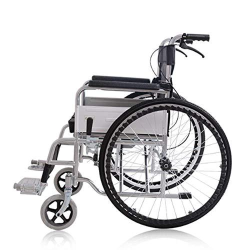 LIANGANAN Silla de rehabilitación médica, silla de ruedas, silla de ruedas plegable de peso ligero de conducción médica, sentada silla de ruedas silla de ruedas ancianos de tubos de acero Pulverizació