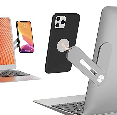 Soporte de móvil para Ordenador portátil - Soporte para móvil en la Oficina - Función de Ordenador Doble Pantalla - Accesorio de móvil para PC - Acabado en Metal - Sistema de sujeción