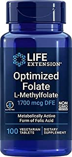 Life Extension Optimized Folate L-Methylfola 1000 Mcg Vegetarian Tablets, 100 Count