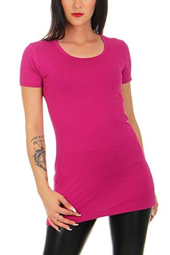 Mellice - Damen Kurzarm Longshirt Longtop - 095 (44/46, Pink)