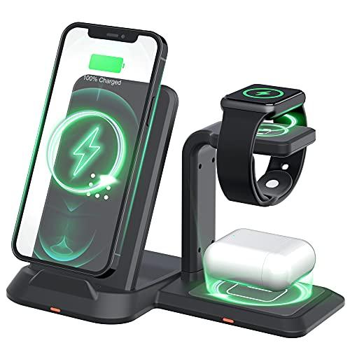CIYOYO Tragbares kabelloses Ladegerät, 3 in 1 kabellose Ladestation für iPhone 13/13 Pro/13 Pro Max/12/12 Pro Max/11/11 Pro, Dockingstation für Samsung S20/S9, Qi-Ladegerät für iWatch, AirPods Pro/ 2