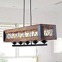LALUZ ファームハウスシャンデリア 5ライト キッチンアイランド照明 クリアガラス 木と黒仕上げ 32インチ