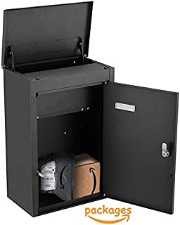PEELCO Package Wall Mailbox for Porch Delivery - Drop Box - Locking Vertical Modern Mail Box - Fits Medium - Small Packages - Vertical Wall Mount or Freestanding - Rust & Weather Proof - 2 Spare Keys
