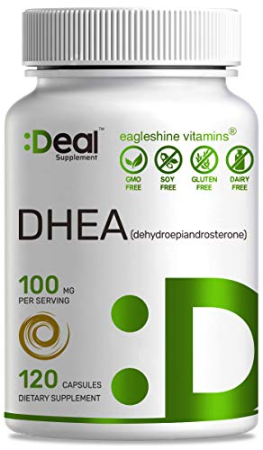 DHEA 100mg, 120 Capsules, Micronized, DHEA 50mg Per Capsule, Supports Healthy Aging & Balanced Hormonal Levels, Boost Energy - Extra Strength DHEA Supplement