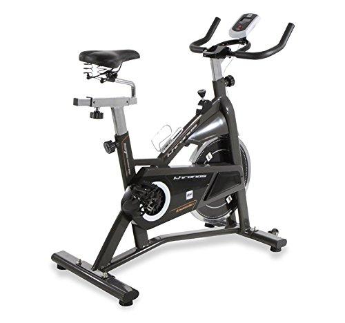 BH Bicicleta Ciclismo Indoor Khronos Basic II - 20Kg Volante de inercia - Sistema de transmisión Correa Poly-V- Resistencia Manual - Monitor LCD - Manillar de triatlón - Pedales con calapié