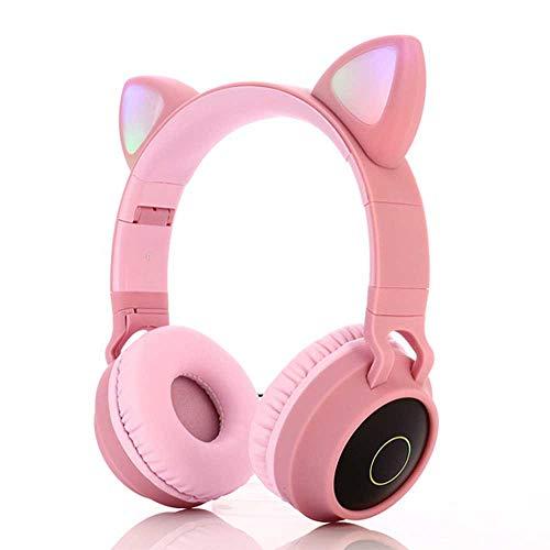NNuodekeU Draadloze Bluetooth Kids Hoofdtelefoon, Kat Oor Bluetooth Draadloos/Bedraad Hoofdtelefoon, LED Licht Up Kids Draadloze Hoofdtelefoon Over Oor met Microfoon roze