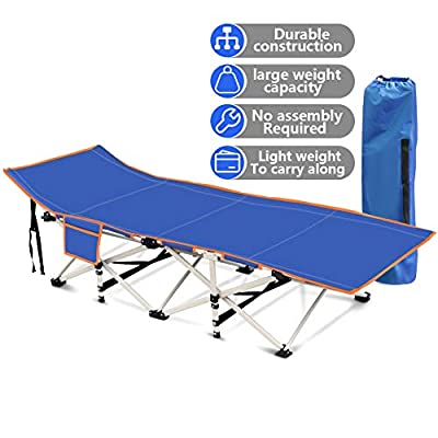 Wamkos Foldable Camping Cots for Adults with Air Cushion Pillow, 440LBS(Max Load) Portable Sleeping Cots Bed for Outdoor Travel/Office/and Home