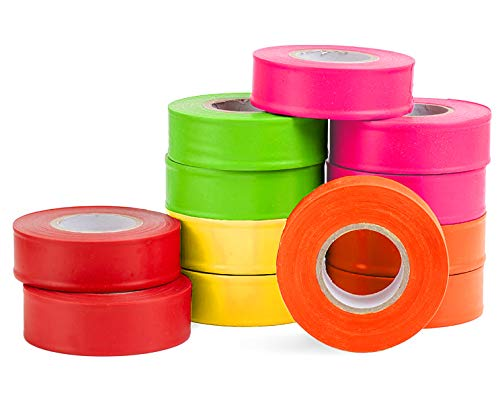 AdirPro 12 Pack Fluorescent Flagging Tape, 150' X 1'' Wide - Multipurpose Neon Marking Tape - Great Visual Labeling & Tagging for Home & Workplace Use (Multi-Color)