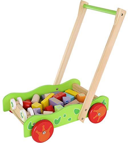 Kruzzel Lauflenhilfe Lauflernwagen aus Holz mit Bauklötzen 9445