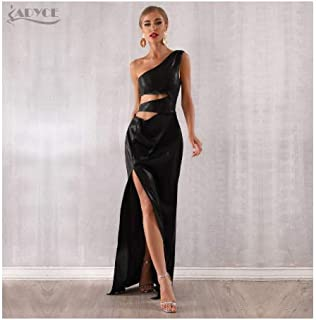 Summer Maxi Celebrity Evening Party Dress Women Vestidos Sexy Black Sleeveless Hollow Out One Shoulder Club Dress